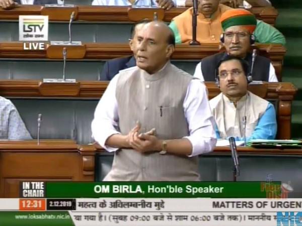 Defence Minister Rajnath Singh in Lok Sabha (File photo/LSTV)