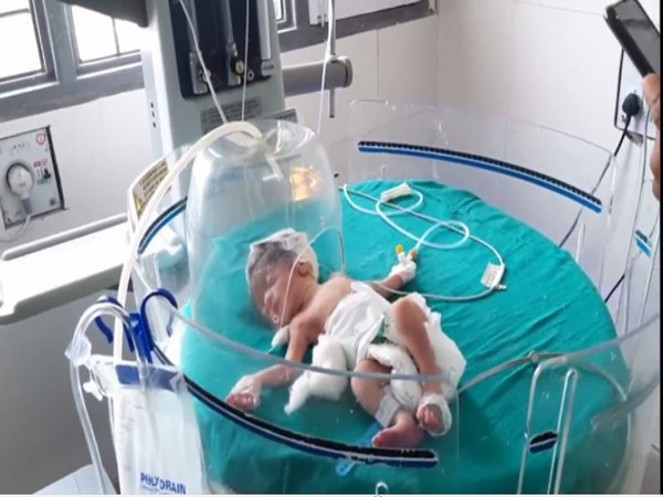 The newborn at the civil hospital in Kaithal. [Photo/ANI]