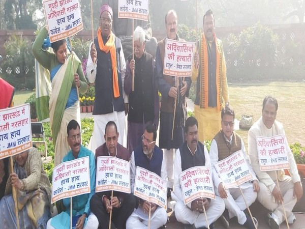 BJP MP's from Jharkhand staging a protest in Parliament on Wednesday (Photo/ANI)