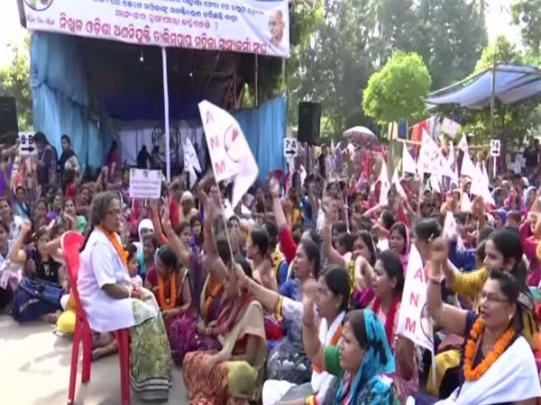 Auxiliary Nursing Midwiferies during their protest in front of Odisha Assembly on Friday. Photo/ANI