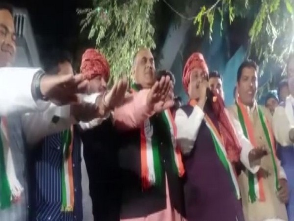 Video grab of Congress party workers taking oath in Indore.