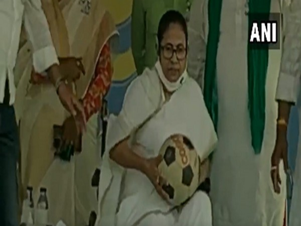 West Bengal Chief Minister Mamata Banerjee with a football (Photo/ANI)