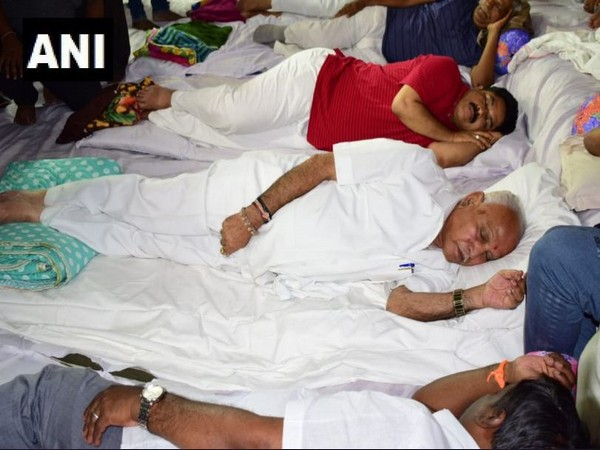 BS Yeddyurappa with other BJP leaders during dharna in Bangalore