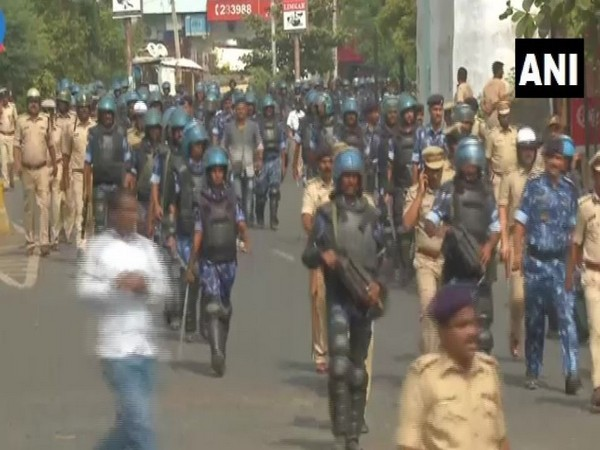 Security forces held route march in Kalaburagi on Saturday (Photo/ANI)