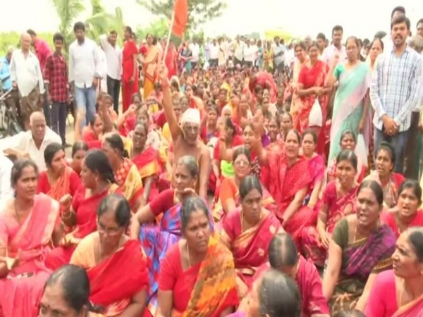 A visual from the sit-in protest in Amaravati on Friday. Photo/ANI