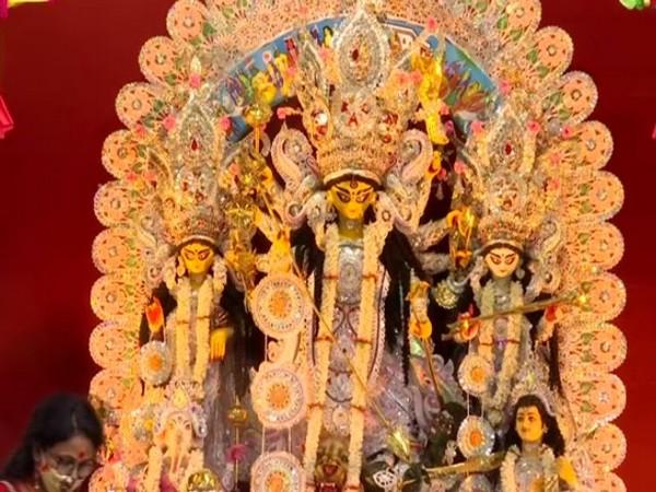 Visuals from a Durga puja pandal at Eastern Zonal Cultural Centre in Salt Lake, Kolkata. (Photo/ANI)