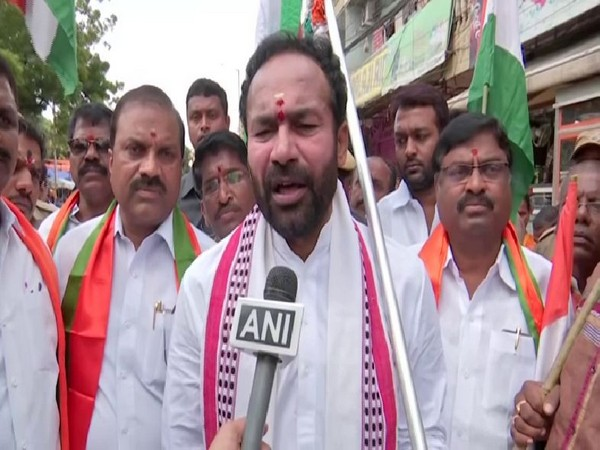 MoS Home Affairs G Kishan Reddy speaking to ANI in Secunderabad on Friday. Photo/ANI