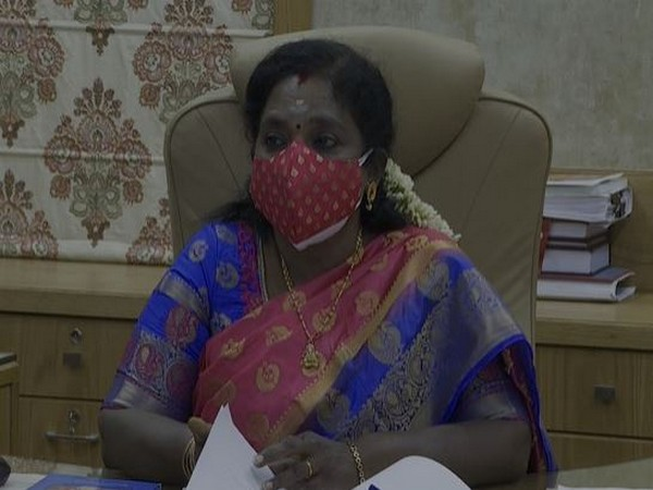 Telangana Governor Tamilisai Soundararajan speaking at the virtual inaugural of the Gita Jnana Saptaham. Photo/ANI
