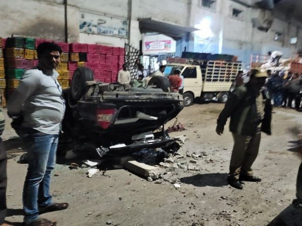 A speeding car fell of the flyover in Hyderabad on Tuesday (Photo/ANI)