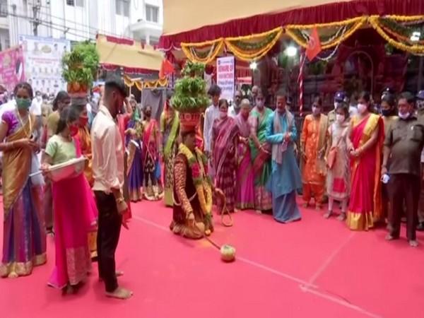 A visual from Secunderabad Bonalu celebrations at Ujjaini Mahankali temple (Photo/ANI)