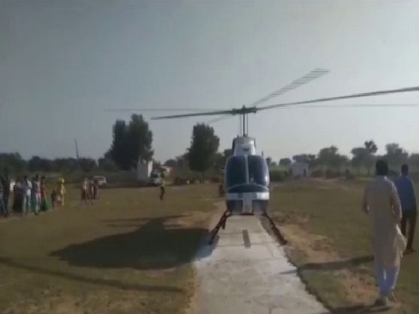 Bride leaves after marriage on a helicopter in Jhunjhunu. Photo/ANI