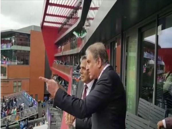 Pakistan FM Shah Mehmood Qureshi at the Old Trafford stadium on Sunday