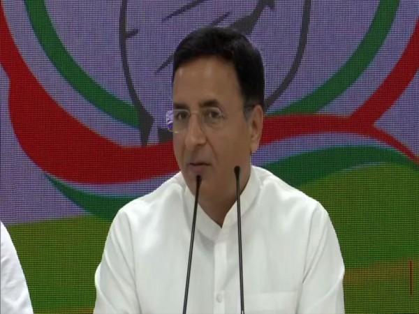 Randeep Singh Surjewala speaks to media in New Delhi on Thursday. [Photo/ANI]