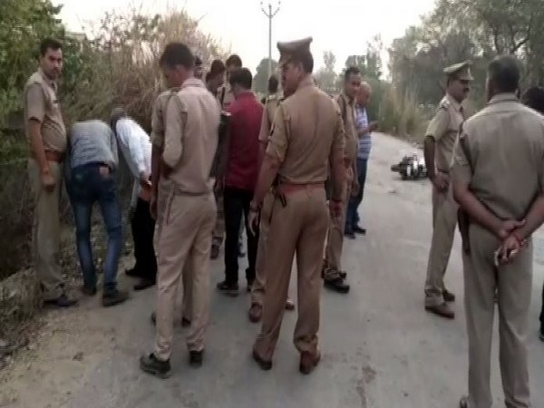 Police at the spot where the encounter took place on Thursday night. Photo/ANI
