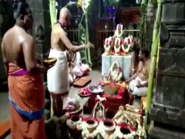 Priests performed 'Varuna Yagam' havan to appease rain god in the premises of Mrityunjaya temple, Chittoor District (Photo/ANI)
