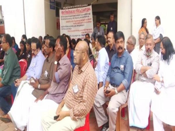 Residents of the Maradu apartments on hunger strike on Friday. Photo/ANI