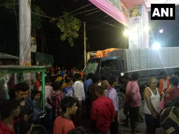 At least eight people got injured allegedly after a police van lost control in Akharaghat area of Muzaffarpur on Tuesday. (Photo/ANI)