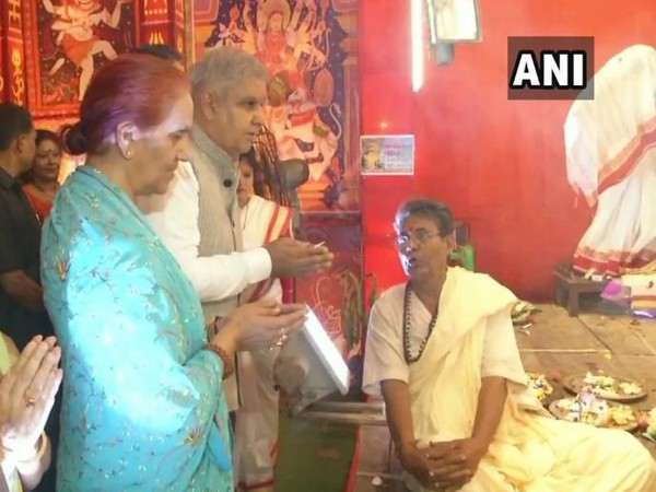 West Bengal Governor Jagdeep Dhankar on Monday visited Durga Puja pandals on the occasion of Maha Navami in Hooghly. (Photo/ANI)