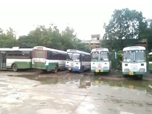 Only 20 of 104 TSRTC buses are plying. Photo/ANI