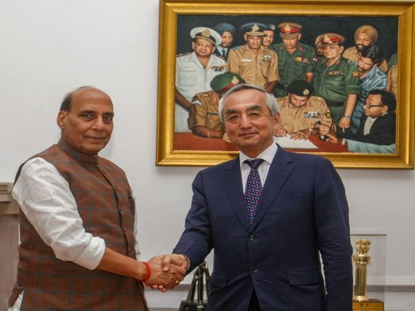 Defence Minister Rajnath Singh met Japanese Ambassador to India Kenji Hiramatsu on Tuesday. (Picture courtesy: ADG (M&C) DPR)