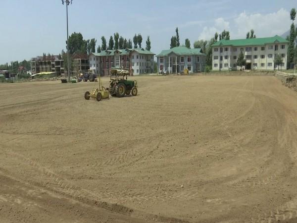 Construction of a mini stadium is on full swing in Shalimar, Srinagr (Photo/ANI)