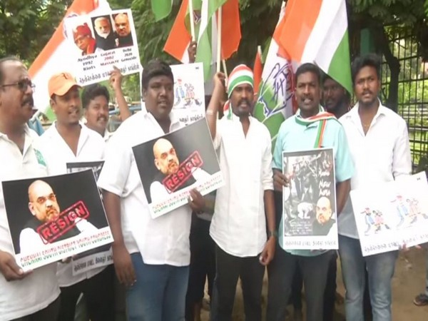 Youth Congress workers hold a protest in Chennai on Friday against the violence in Delhi and demanded Home Minister Amit Shah's resignation. Photo/ANI
