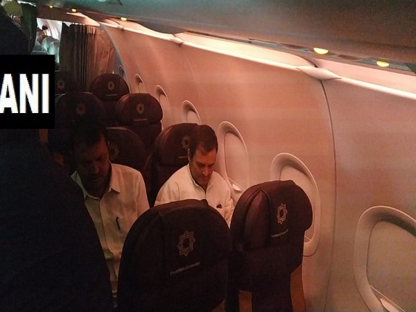 Congress leader Rahul Gandhi onboard flight to Srinagar. Photo/ANI