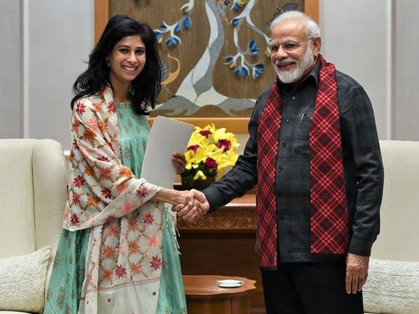 Economic Counsellor and Director of Research Department at IMF Gita Gopinath with Prime Minister Narendra Modi in New Delhi on Monday.