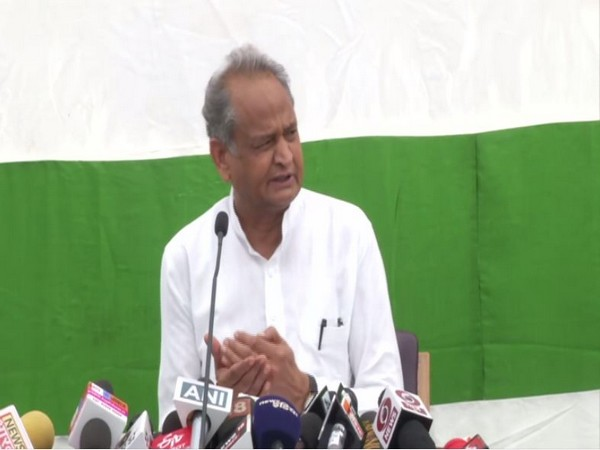 Rajasthan Chief Minister Ashok Gehlot speaking to reporters in Jaipur on Saturday. Photo/ANI