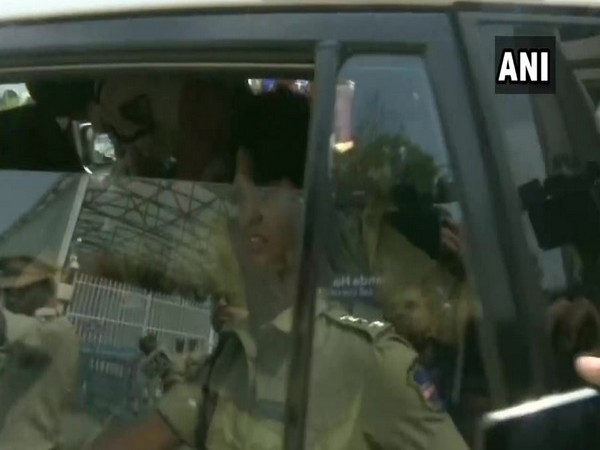 Women rights activist Trupti Desai detained by the police in Hyderabad (Photo/ANI)