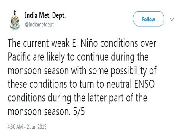 Indian Meteorological Department has tweeted on the El Nino conditions in India.