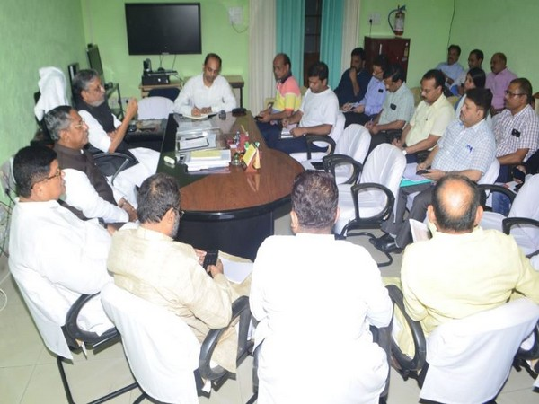 Bihar Deputy Chief Minister Sushil Kumar Modi during the review meeting on the flood situation in the state. (Photo/Twitter)