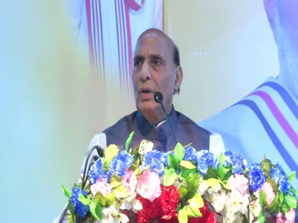 Defence Minister Rajnath Singh speaking at a public meeting in Patna on Sunday. Photo/ANI