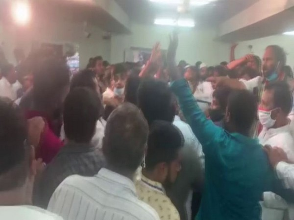 An internal scuffle broke out between Congress leaders at GHMC preparatory meeting in Hyderabad (Photo/ANI)