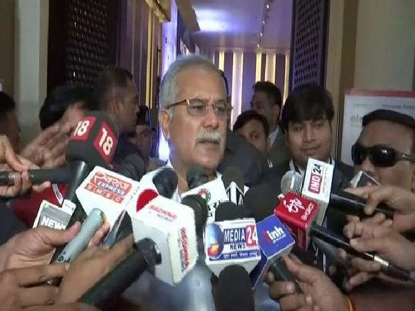 Chhattisgarh Chief Minister Bhupesh Baghel speaking to reporters in Raipur on Saturday. Photo/ANI
