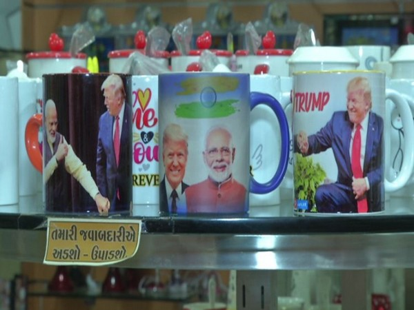 Coffee mugs featuring Prime Minister Narendra Modi and US President Donald Trump's pictures (Photo/ANI)
