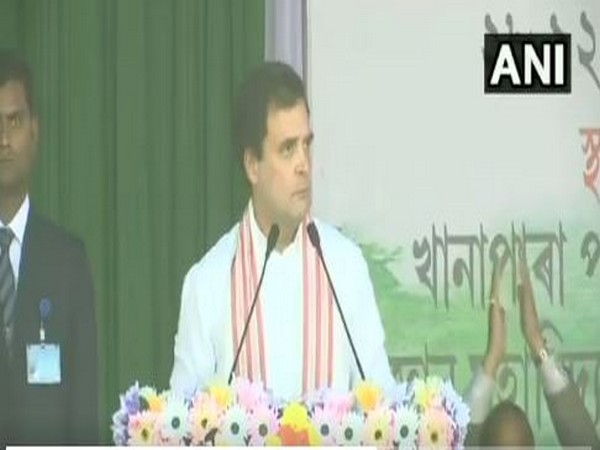 Congress leader Rahul Gandhi addressing a rally in Guwahati on Saturday (Photo/ANI)