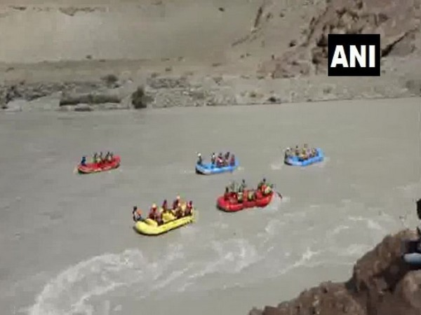 River rafting competition conducted on the last day of Ladhak School Olympics 2019, on Sunday (Photo/ANI)