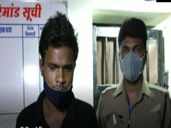 Accused Suresh Yadav in custody of Vijay Nagar Police in Indore. (Photo/ANI)