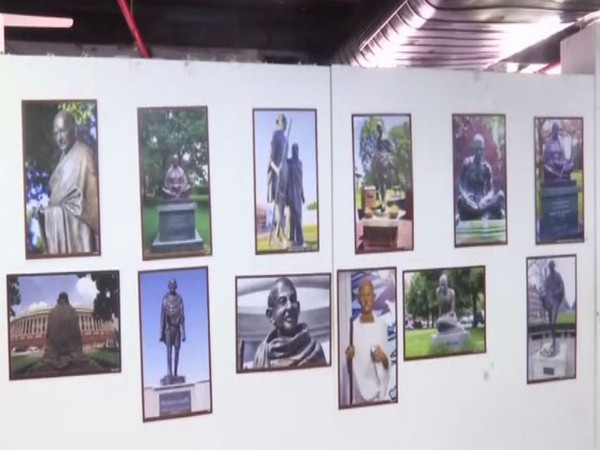 The exhibition showcases pictures of various statues of Mahatma Gandhi spread across the world. Photo/ANI