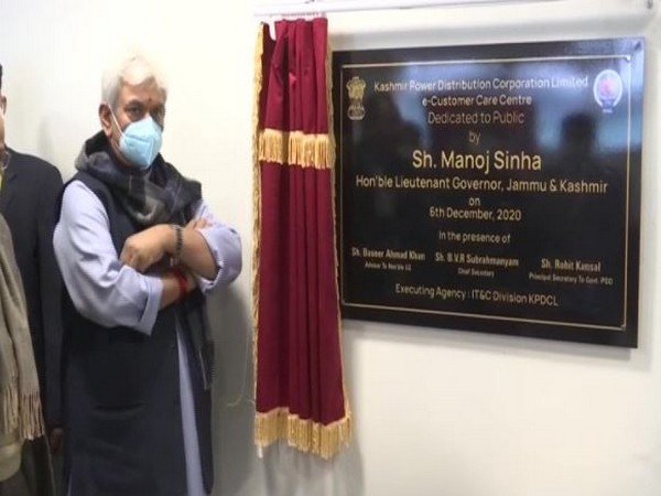 Lieutenant Governor of Jammu and Kashmir Manoj Sinha inaugurating e-Customer Care Service. (Photo/ANI)