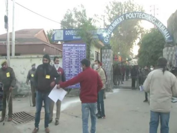 Visual from outside a counting centre in Jammu. (Photo/ANI)