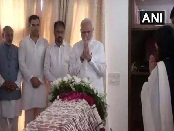 Prime Minister Narendra Modi paid last tributes to former External Affairs Minister Sushma Swaraj on Wednesday. (Photo/ANI)