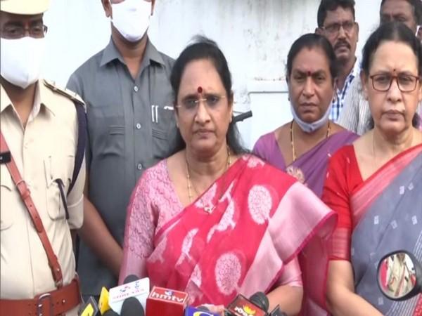 Andhra Pradesh Women Commission Chairperson Vasireddy Padma. (Photo/ANI)