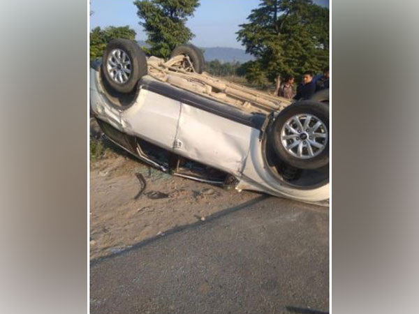 Overturned car of BJP MP Tirath Singh Rawat. Photo/ANI