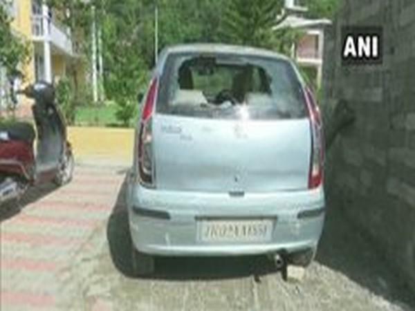 Visual of a damaged car in Maira Chowkian village of Rajouri district. Photo/ANI