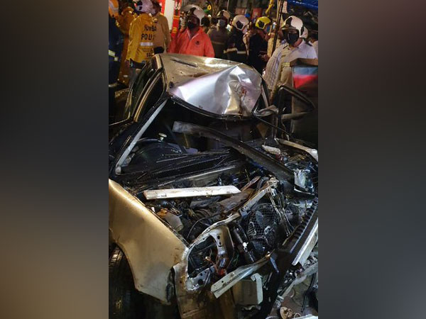 Visual from the site of accident in Crawford market, Mumbai on Monday. Photo/ANI