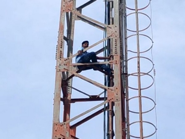 Narayana Swamy, who climbed a cell tower in Chittoor, Andhra Pradesh. Photo/ANI