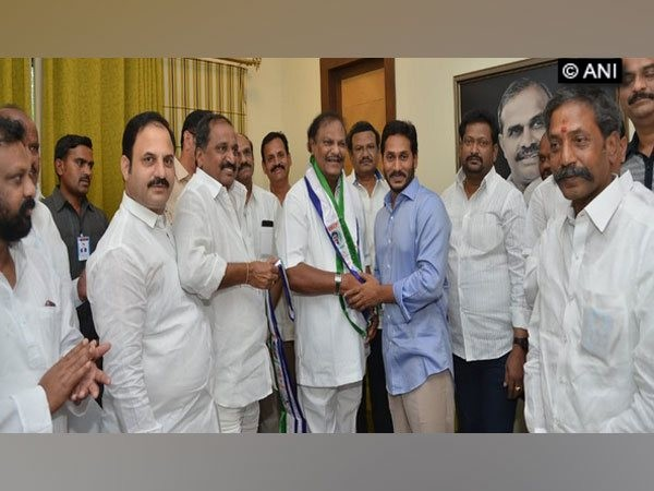 Challa Ramakrishna Reddy joined the YSRCP in Hyderabad on Friday Photo/ANI