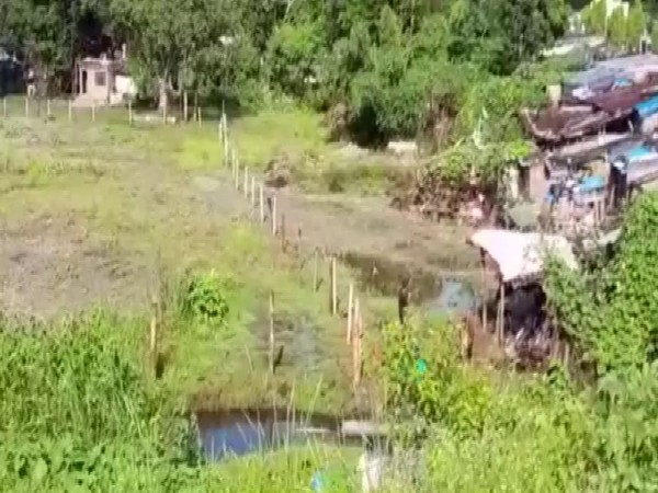 Visual from the encroachment on 'no man's land' between India-Nepal in Champawat, Uttarakhand. [Photo/ANI]